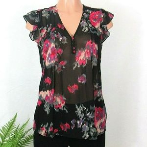 Joie 100% Silk Blouse Small Sheer Black Floral